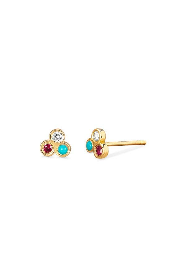 14K GOLD COLOR TRIO STUDS