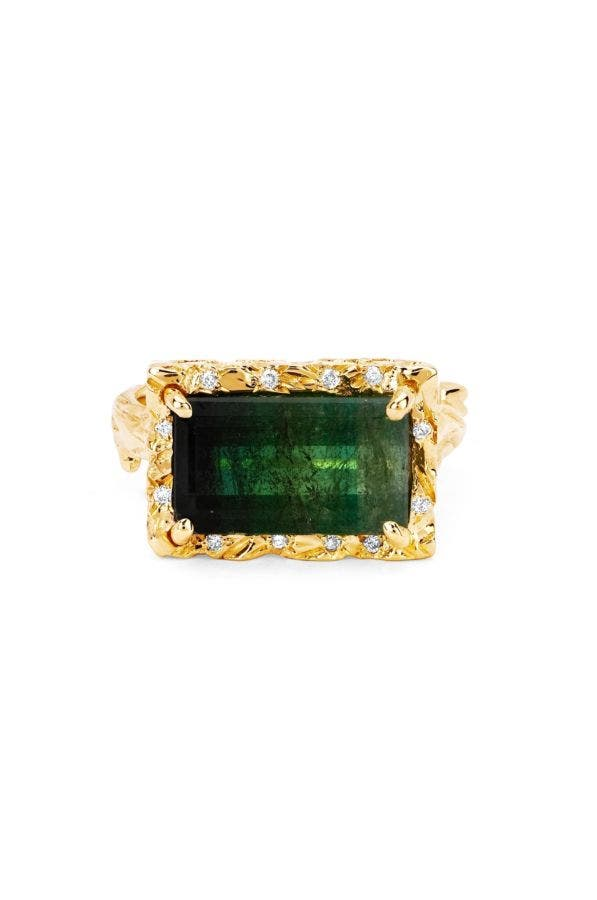 Watermelon Tourmaline Ring With Diamonds