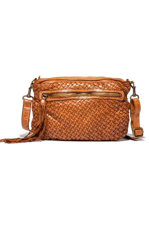 Ilaria Woven Washed Leather Cross Body Bag