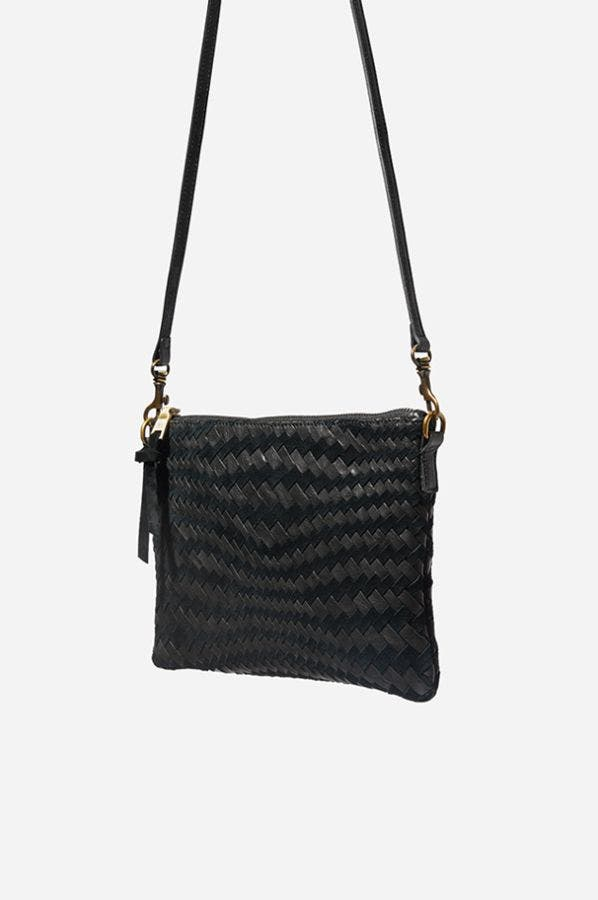 WOVEN LEATHER CROSSBODY