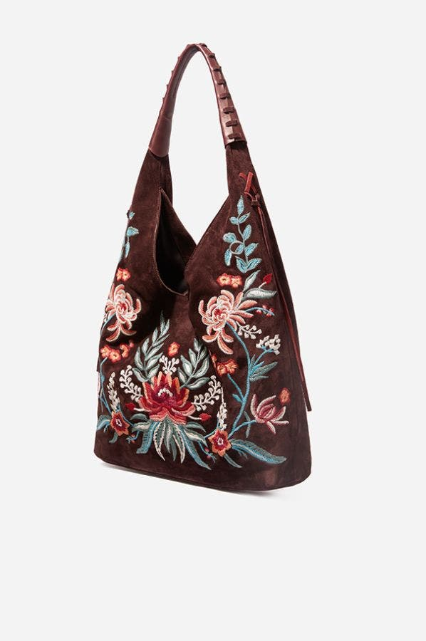 EMBROIDERED SOFT HOBO
