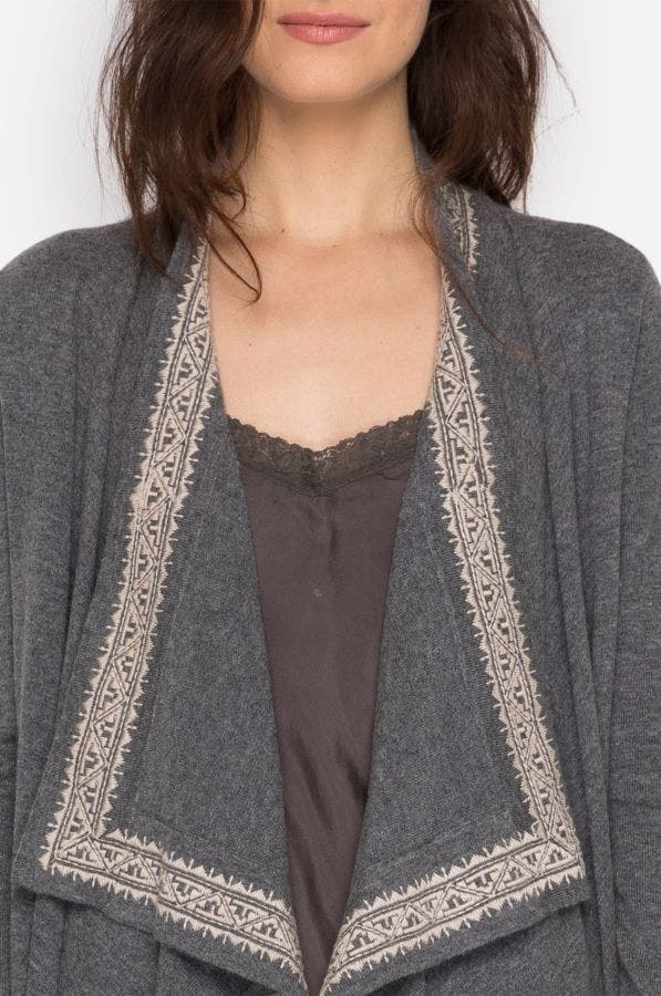 Embroidered Border Drape Cardigan