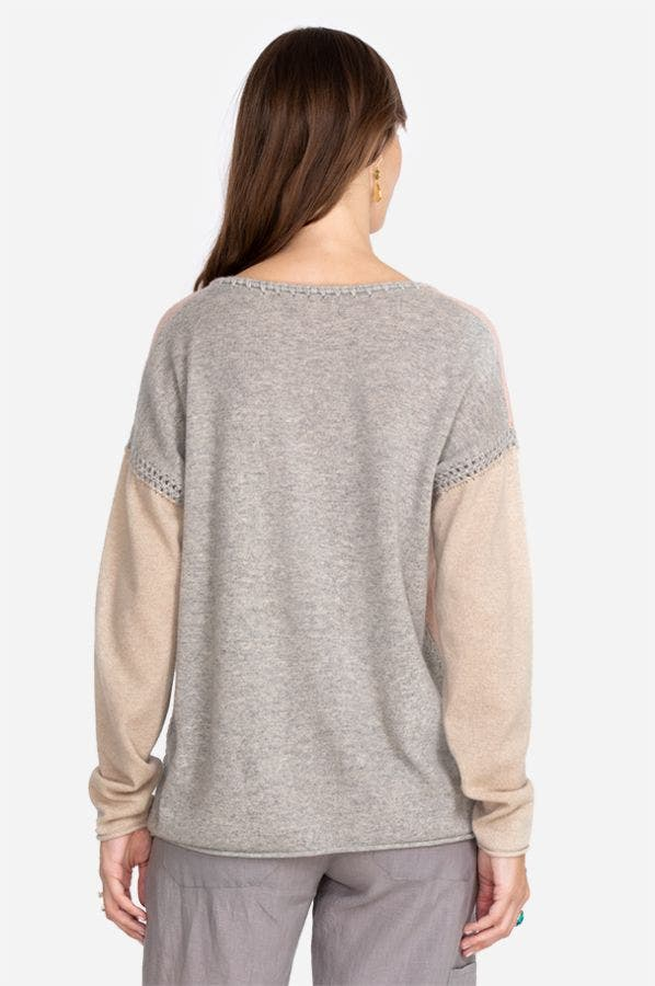 COLOR BLOCK WHIPSTITCH PULLOVER