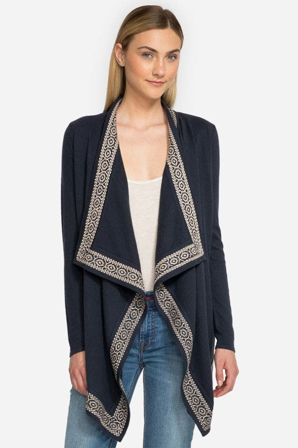 Embroidered Border Cardigan