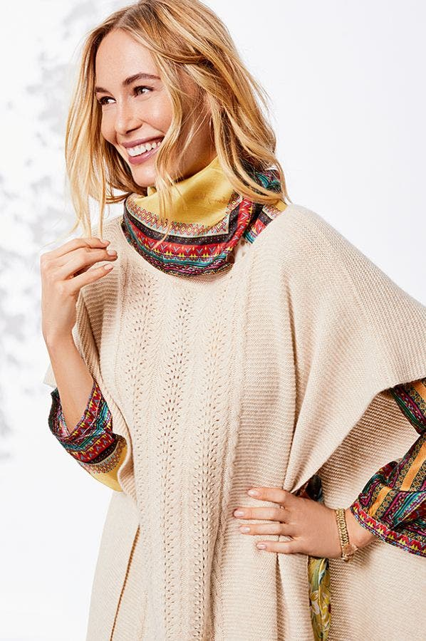THEA CABLE KNIT PONCHO