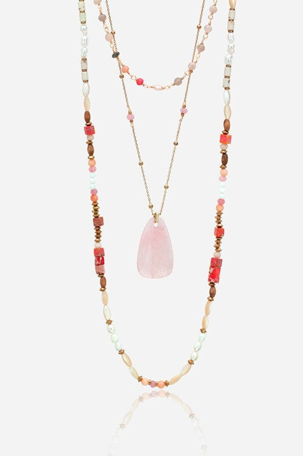 STONE AND PEARL DOUBLE STRAND NECKLACE
