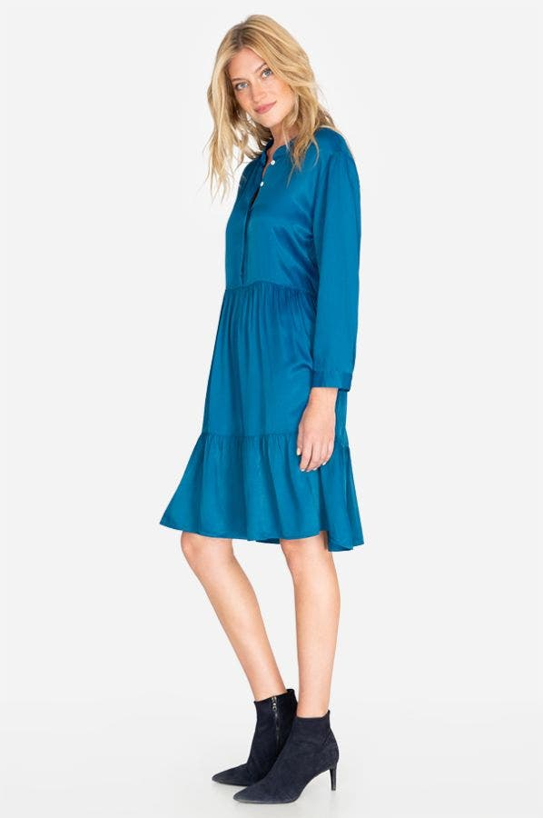 TIERED MANDARIN COLLAR DRESS