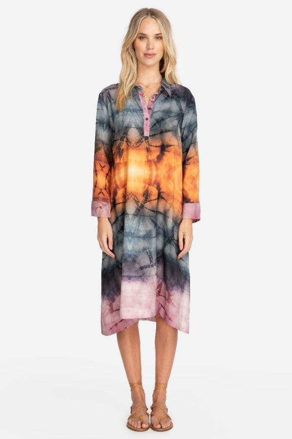 TIE DYE HENLEY SHIRT DRESS