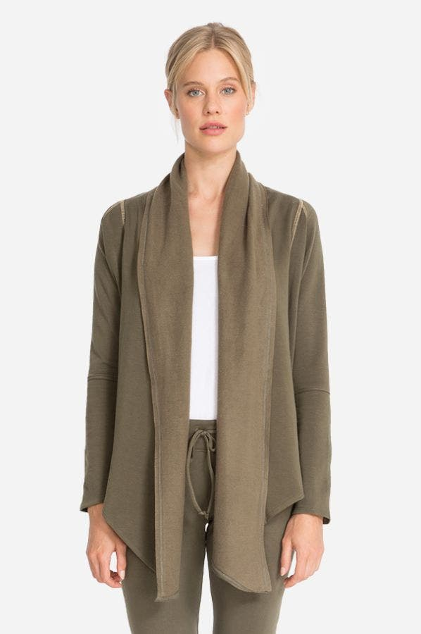 FLEECE LONG DRAPED CARDIGAN