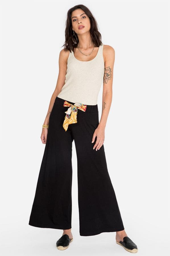 SCARF TIE KNIT PANT