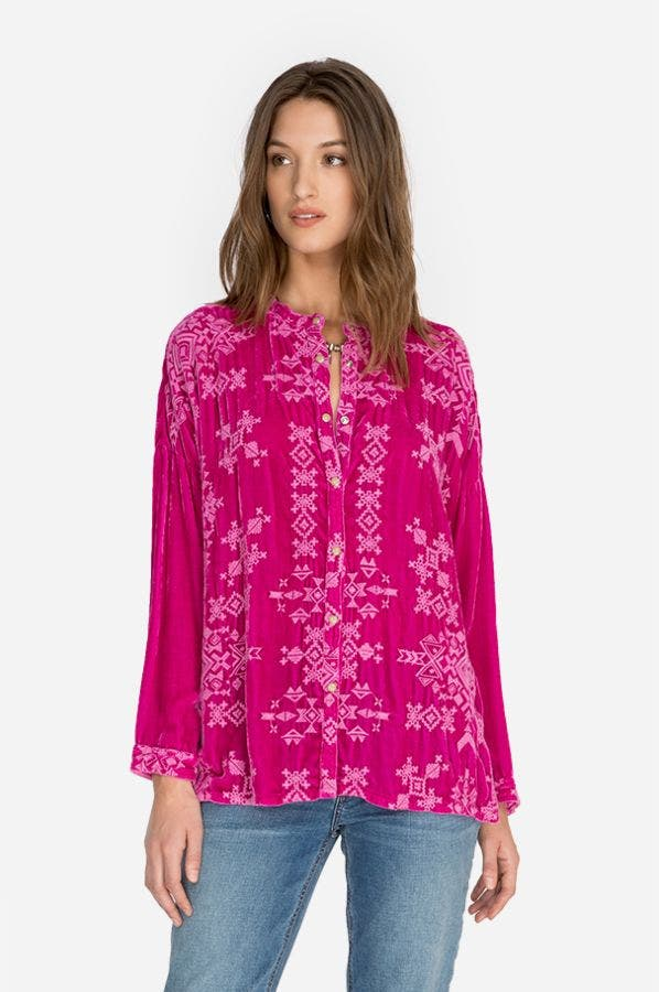 ELLEN VELVET BUTTON DOWN BLOUSE