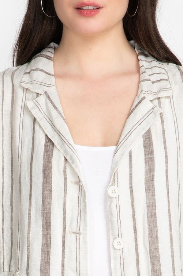 ZONA STRIPE LINEN JACKET