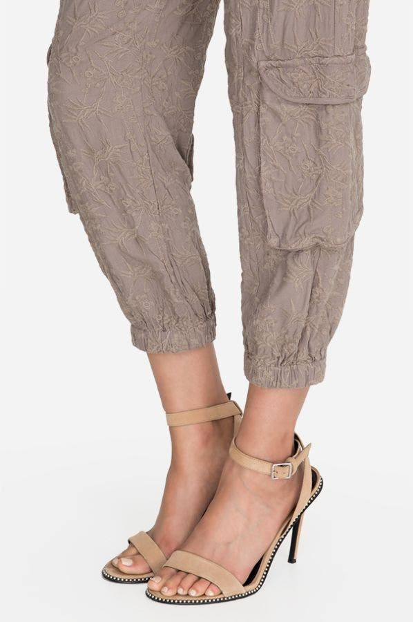 ANYA ALL OVER EMBROIDERED RAYON CREPE PANT