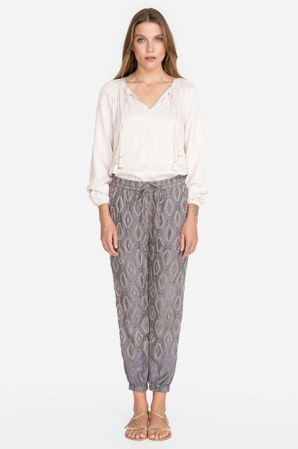 DIAMOND ALL OVER EMBROIDERED PANT