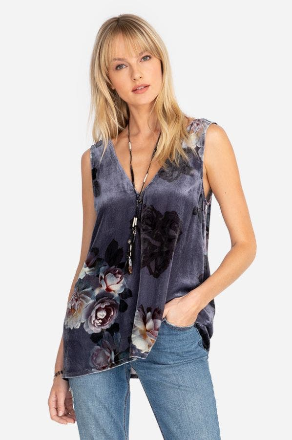 MIDNIGHT ROSE VELVET V-NECK TANK