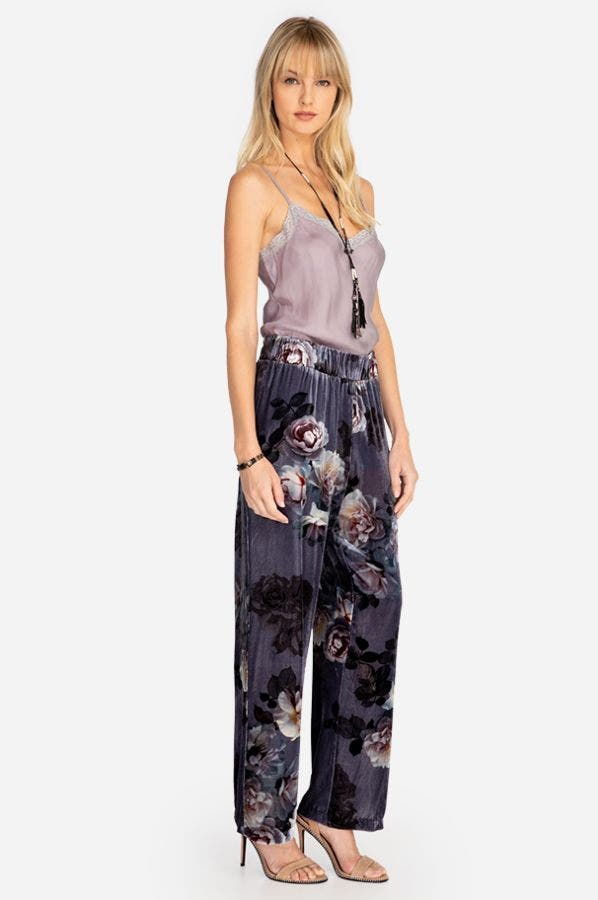 MIDNIGHT ROSE VELVET WIDE LEG PANT