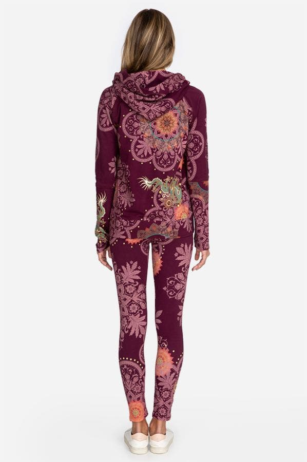 BURGUNDY DRAGON PRINTED LEGGING