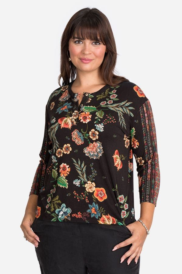 ARDELL LONG SLEEVE HENLEY TEE-PLUS SIZE