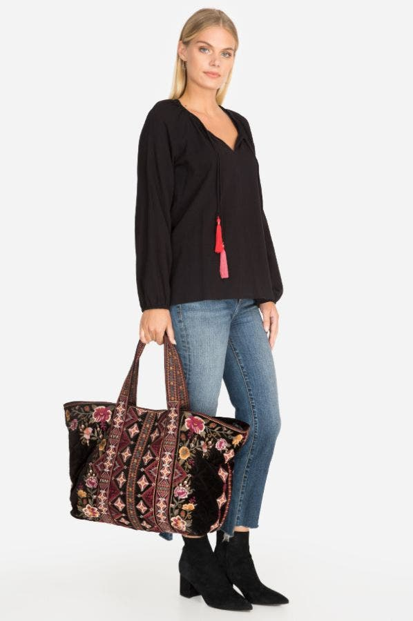 NEPAL VELVETEEN QUILTED TOTE BAG