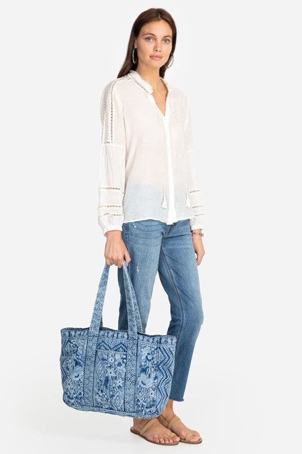 EMERSON DENIM ZIPPER TOTE