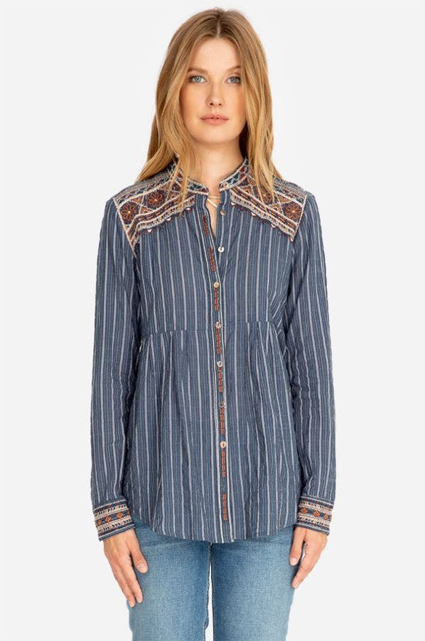 MOLLY JO MANDARIN COLLAR SMOCK SHIRT