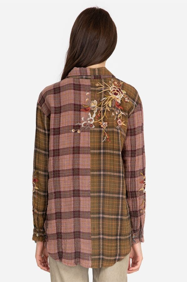 VARLESE MIXED PLAID OVERSIZED SHIRT