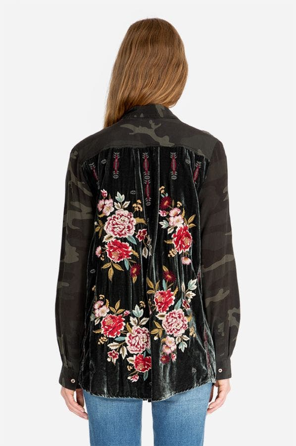 VALENTINA VELVET EMBROIDERED BACK SHIRT