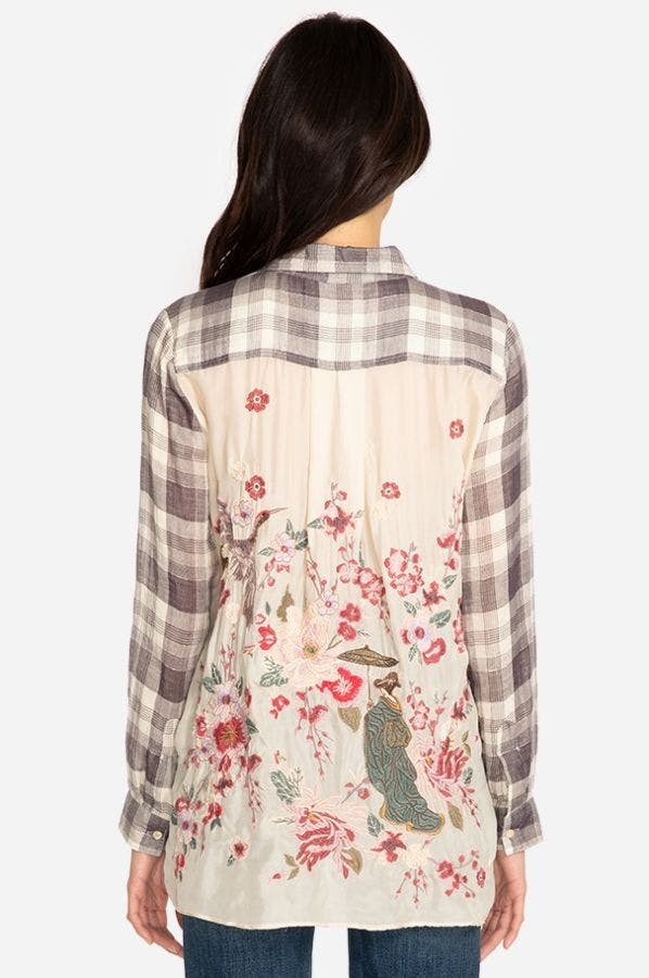 HISAKO EMBROIDERED BACK SHIRT