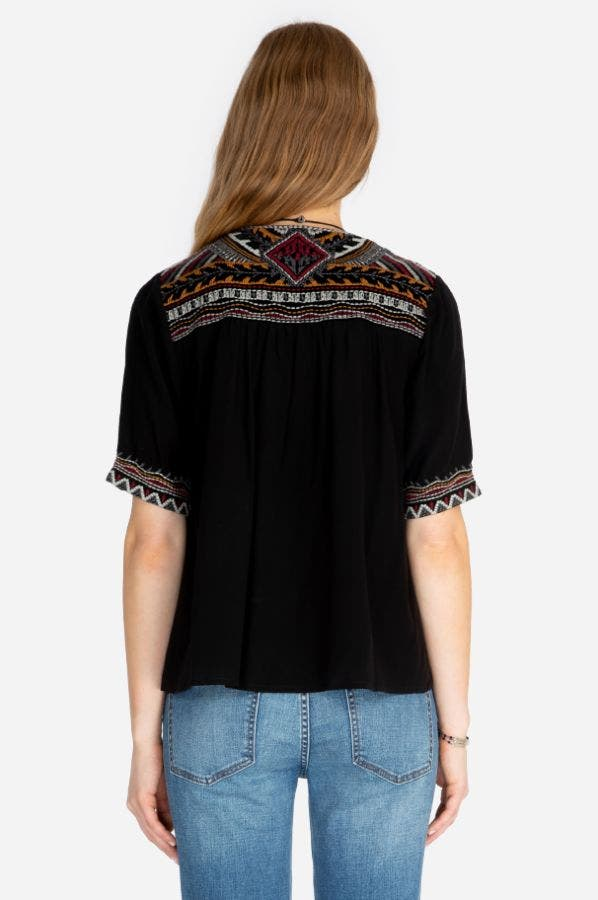 BLAIR V-NECK CROP BLOUSE