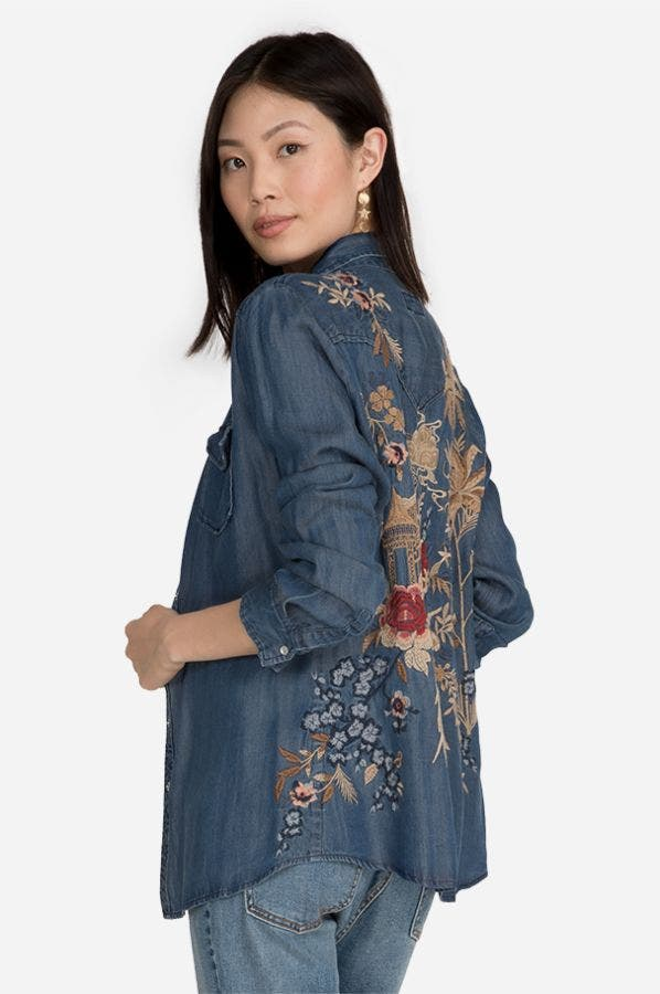 PALMYRA WESTERN DENIM SHIRT-PLUS SIZE