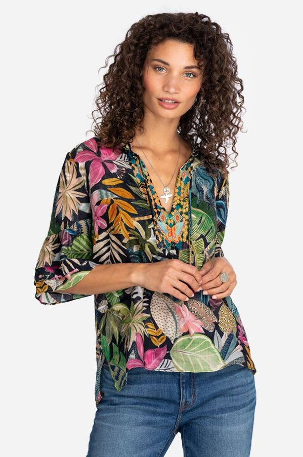 TROPICAL TIERED RUFFLE SLEEVE TOP