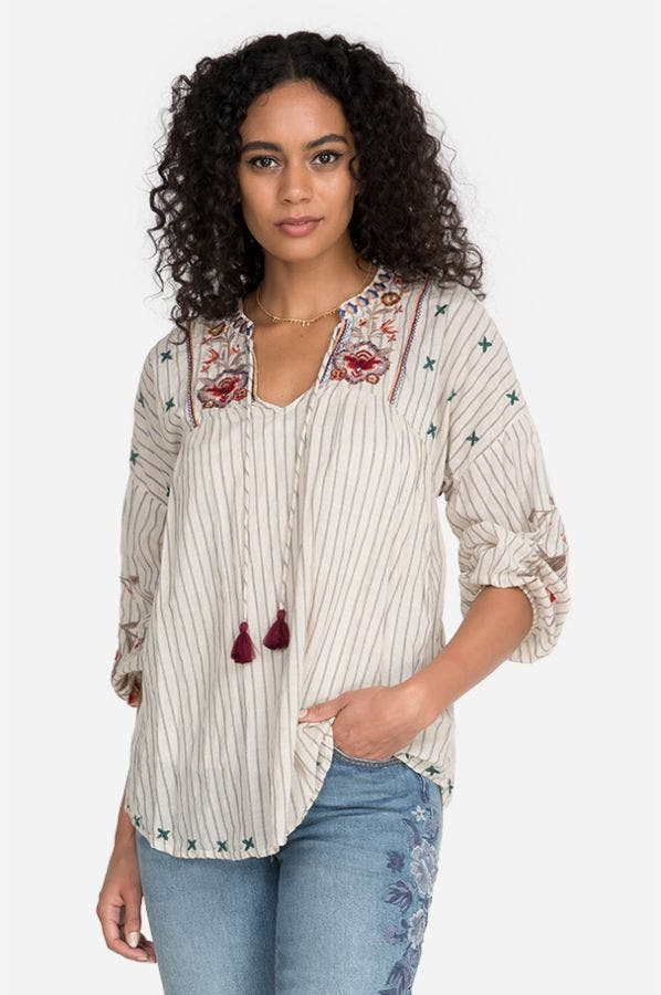 CHRYSALIS V-NECK YOKE BLOUSE