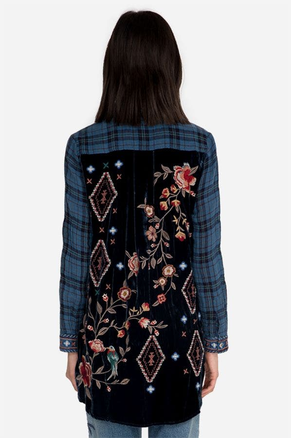 CHRYSALIS VELVET EMBROIDERED BACK SHIRT