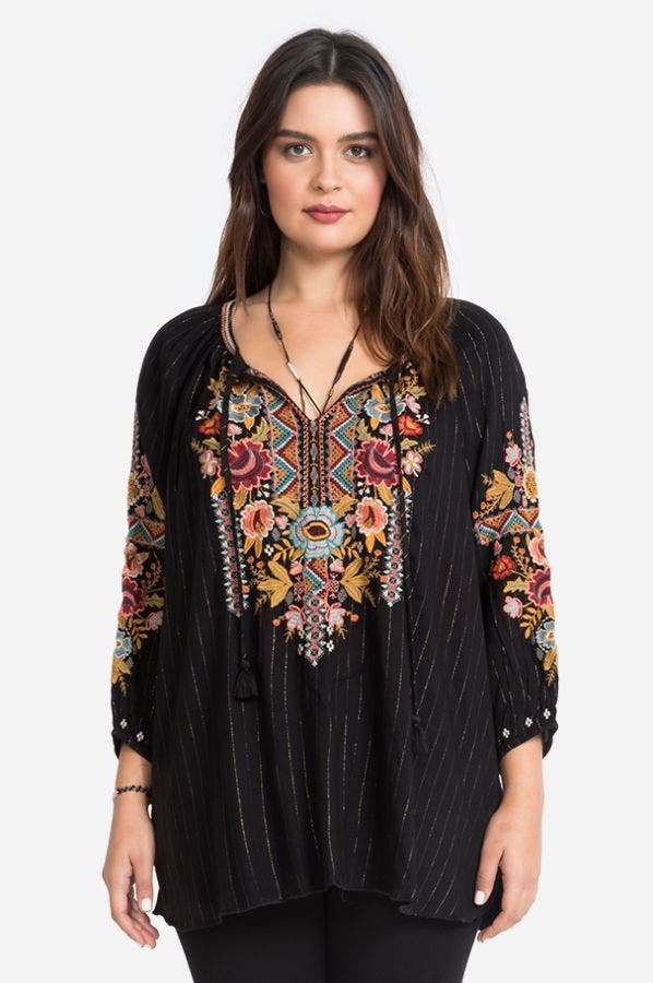CLANSY PEASANT BLOUSE-PLUS SIZE