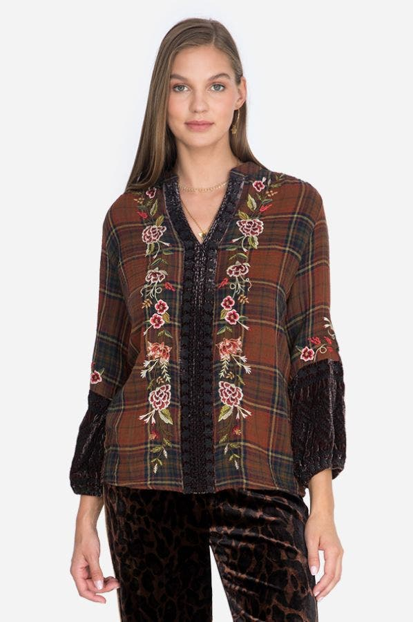 UCCELLO VELVET MIX PARIS EFFORTLESS BLOUSE