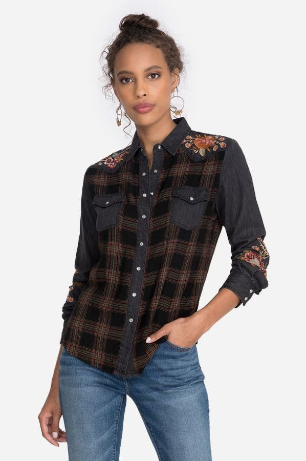 ANANKE WESTERN PLAID MIX DENIM SHIRT
