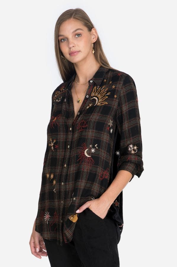 ASTRAEA VELVET EMBROIDERED BACK SHIRT