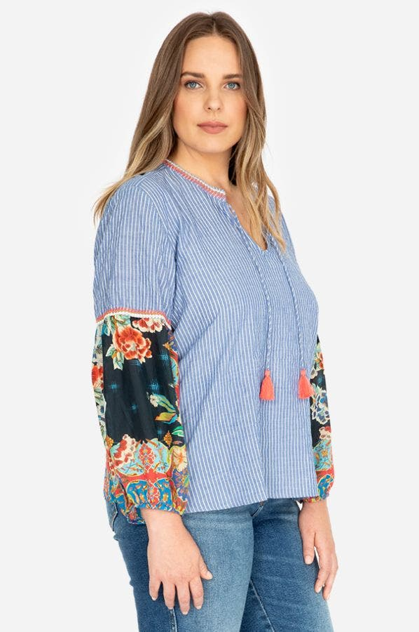SCARF MIX BLOUSE-PLUS SIZE