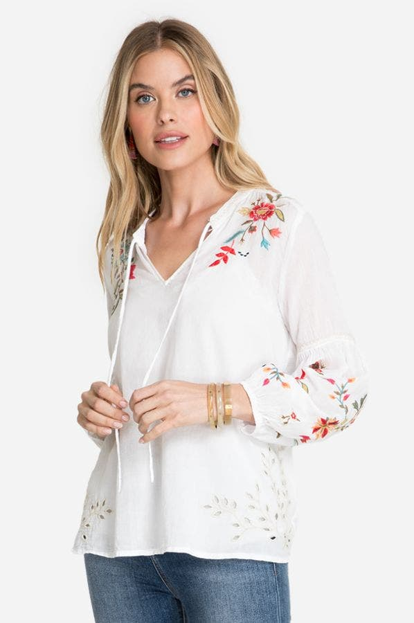 LIDIA EFFORTLESS PEASANT BLOUSE