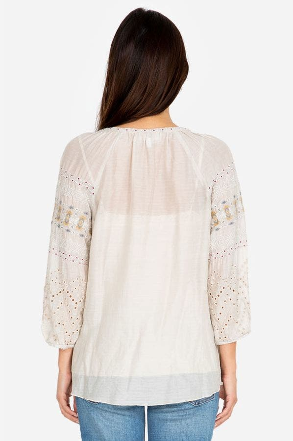 ANGELIQUE EYELET PEASANT BLOUSE