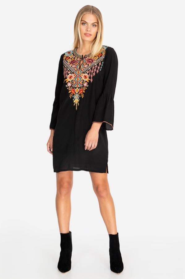 CLANSY FLARE SLEEVE TUNIC DRESS