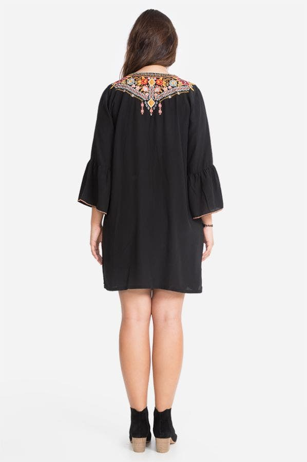 CLANSY FLARE SLV TUNIC DRESS-PLUS SIZE