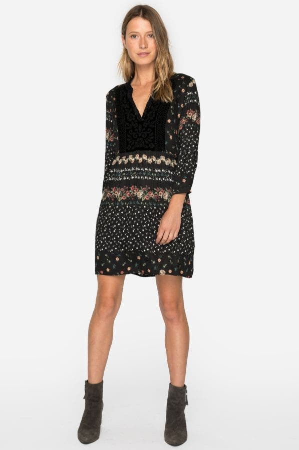 Velvet Mix Boho Henley Dress