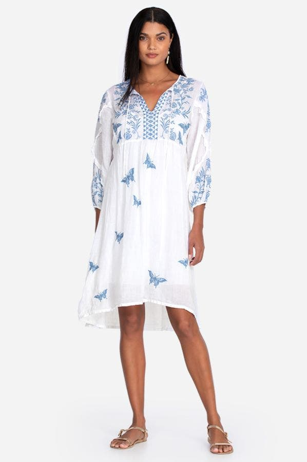 LULU RUFFLE SLEEVE TEA LENGTH DRESS