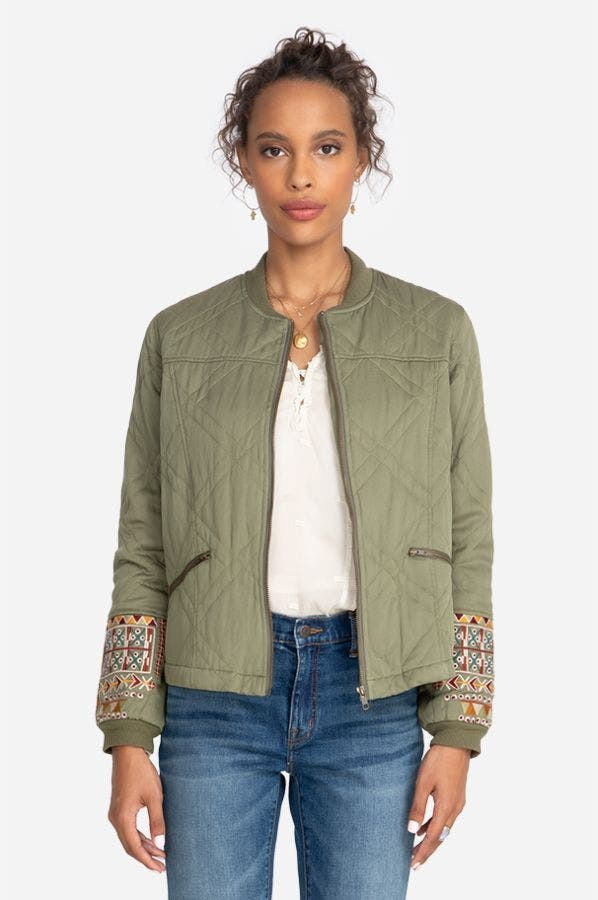 LEIGH QUILTED SEAMED BOMBER