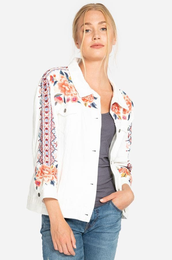 SHEA WHITE DENIM JACKET-PLUS SIZE