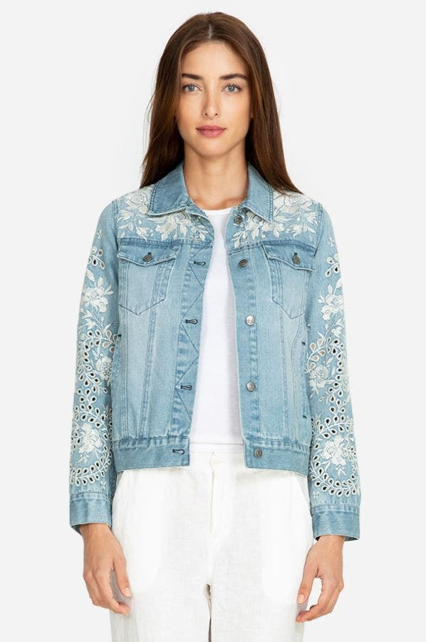 IVORY EYELET CROP DENIM JACKET