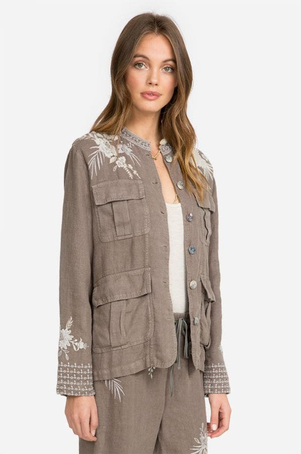 OLEANDER LINEN SAFARI JACKET