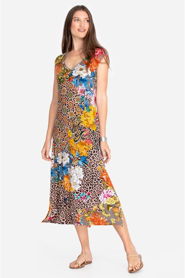 TAYLOR LEOPARD HIGH SLIT KNIT DRESS