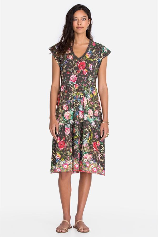 NAOMI V-NECK TIERED TEA LENGTH DRESS